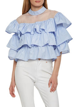 Tiered Striped Top - 1004074290450