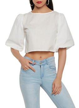Zip Back Crop Top - 1004074290468