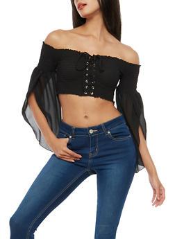 Lace Up Off the Shoulder Crop Top - 1004074290848