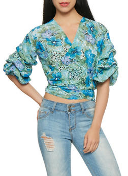 Floral Bubble Sleeve Wrap Top - 1004074292102