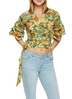 Floral Bubble Sleeve Wrap Top - 1004074292102