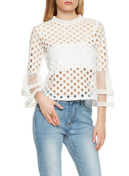 Perforated Zip Back Top - 1004074292122