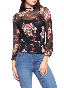 Smocked Floral Mesh Top - 1005015991812