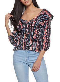 Ruffled Floral Top - 1005015994563