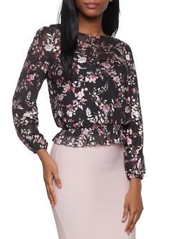 Floral Foil Mesh Top - 1005015996058