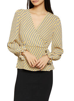 Printed Faux Wrap Blouse - 1005015996516
