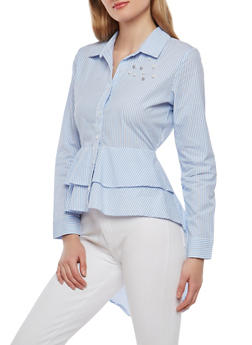 Faux Pearl Studded Striped High Low Shirt - 1005015998640
