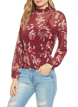 Floral Mesh Mock Neck Top - 1005015999680