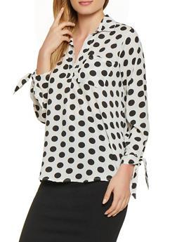 Tie Sleeve Polka Dot Crepe Knit Top - 1005038340625