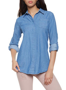 Denim Split Back Shirt - 1005038349574