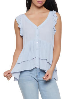 Tiered Gauze Knit Babydoll Top - 1005051060511