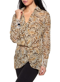 Animal Print Faux Wrap Blouse - 1005051060806