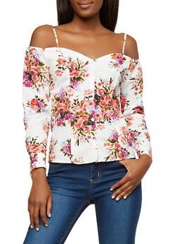 Floral Off the Shoulder Button Front Top - 1005051069647