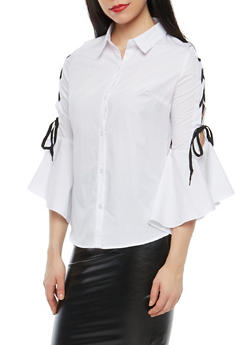 Lace Up Bell Sleeve Button Front Top - 1005051069699