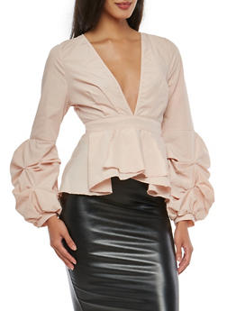 Tiered Sleeve Plunging V Neck Peplum Top - 1005051069908