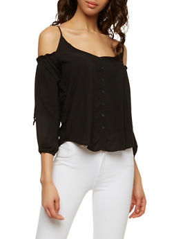 Button Detail Cold Shoulder Top - 1005054260448
