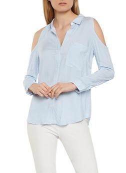 Cold Shoulder Button Front Top - 1005054260467