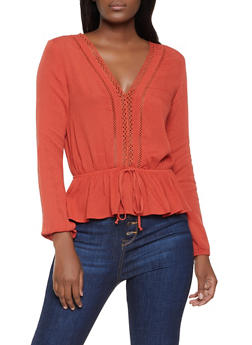 Crochet Detail Gauze Knit Top - 1005054261698