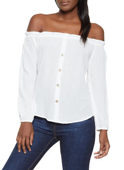 Ruffle Trim Off the Shoulder Top - 1005054261878