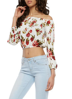 Floral Slit Sleeve Off the Shoulder Crop Top - 1005054269425