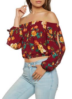 Floral Slit Sleeve Off the Shoulder Crop Top - 1005054269425