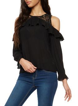 Lace Trim Cold Shoulder Top - 1005054269826