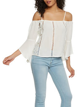 Off the Shoulder Crochet Insert Top - 1005054269858
