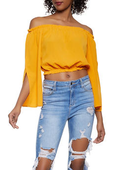 Split Sleeve Off the Shoulder Crop Top - 1005058750113