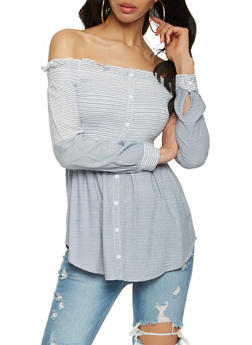 Striped Off the Shoulder Button Detail Top - 1005058750467