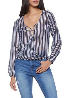 Striped Faux Wrap Top - 1005058752142