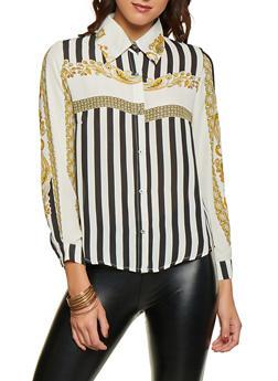 Border Print Button Front Shirt - 1005074290451