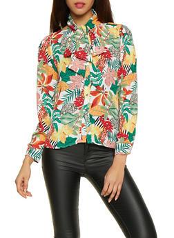Floral Tie Neck Button Front Shirt - 1005074290453