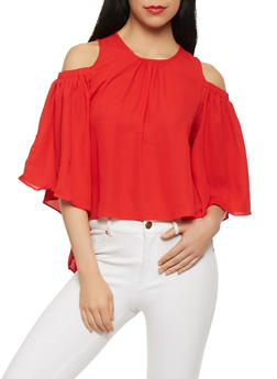 Ruffled Back Cold Shoulder Top - 1005074290478