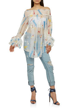 Embroidered Tulle Off the Shoulder Tunic - 1005074290707