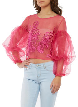 Embroidered Mesh Tiered Bubble Sleeve Top - 1005074290709