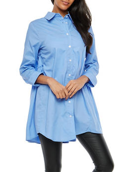 Pleated Back Button Front Tunic - 1005074290725