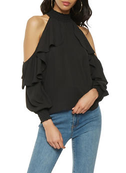 Smock Trim Ruffle Cold Shoulder Top - 1005074292111