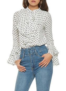 Ruffled Polka Dot Shirt - 1005074292400
