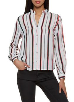 Long Sleeve Womens Button Front Blouse