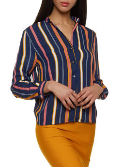 Striped Button Front Blouse - 1005074292426