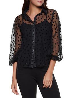 Polka Dot Mesh Shirt - 1005074292432