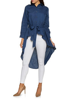 Belted High Low Shirt - 1005074292437