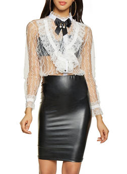 Faux Pearl Studded Mesh Button Front Top - 1005074297112