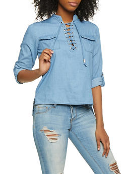 High Low Lace Up Denim Top - 1006038349575