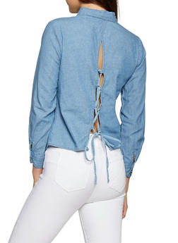 Lace Up Back Denim Shirt - 1006038349576