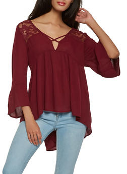 Lace Back Bell Sleeve Top - 1006054269801