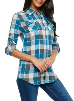 Teal Plaid Button Front Top - 1006058751522
