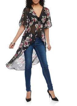 Floral Chiffon High Low Maxi Top - 1008015997061