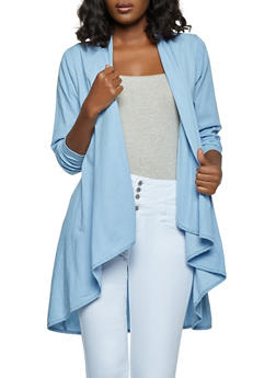 Chambray Drape Front Duster - 1008038340113
