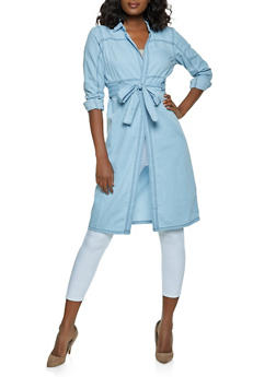 Chambray Tie Waist Duster - 1008038340114